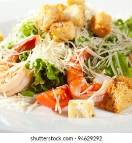 Caesar Salad with Seafood. Comprises Romaine Salad Leaf and Croutons Dressed with Parmesan Cheese