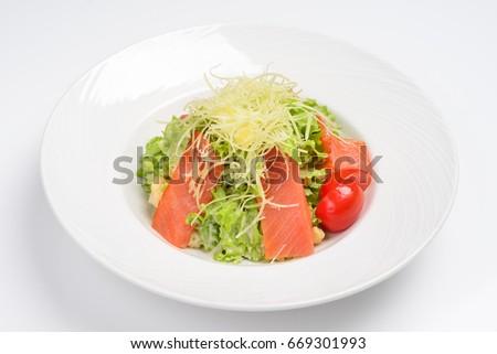 Caesar Salad Smoked Salmon White Background Stock Photo Edit Now