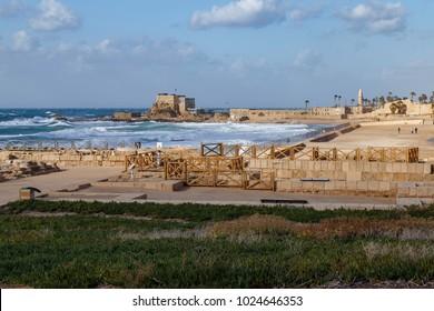 Caesarea National Park located  on the coast of Mediterranean sea in Israel