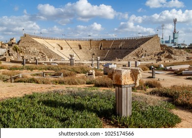 Caesarea National Park located  on the coast of Mediterranean sea in Israel.   Ruins of ancient amphitheater.