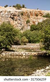 Caesarea Philippi in Israel, source of the Jordan River and worship of Pan