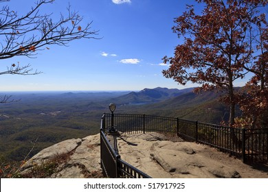 Caesars Head State Park in upstate South Carolina during the fall.  Notice the telescope to view the counties of Greenville and Pickens and Table Rock Mountain.