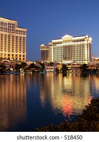 Caesar's Palace and Bellagio with reflecting pool, Las Vegas
