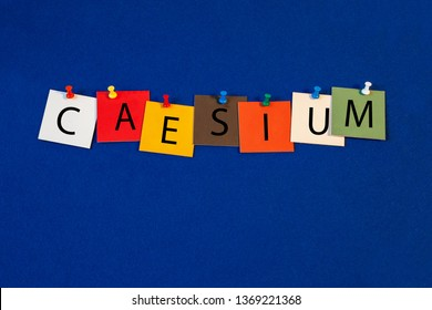Caesium – one of a complete periodic table series of element names - educational sign or design for teaching chemistry.
