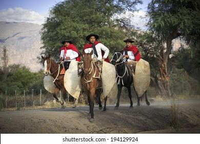 CAFAYATE, ARGENTINA - MAY 15: Gauchos on traditional festival in Cafayate, 15 May, 2014, province Salta, Argentina