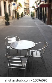 Cafe accessory into quiet small street