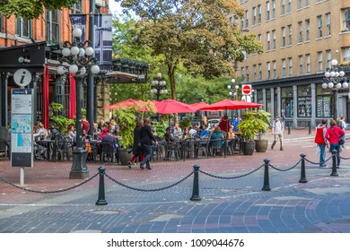Cafe and bar in Maple Tree Square in Gastown, Vancouver, British Columbia, Canada, North America 13 September 2017