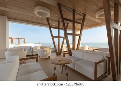 Cafe bar in sea hotel resort