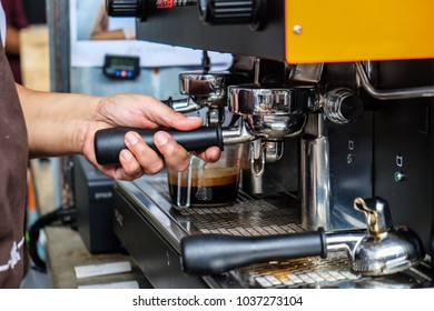 Cafe barista making coffee preparing machine, Food and drink industry