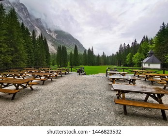 Cafe with benches on hiking trail