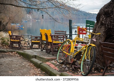 Cafe and bicycle Lake Orestiada in the Kastoria Prefecture of Macedonia, northwestern Greece.