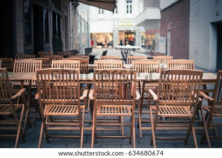 Cafe Bistro Chairs Outside In A European Street, Food Restaurant Bistro