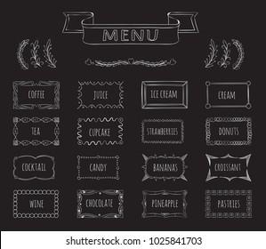 Cafe blackboard menu hand drawn set. Coffee and juice, ice cream and tea, menu cafe, illustration