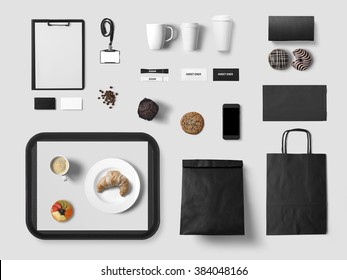 Cafe branding mock up for your design presentation, top view, black style