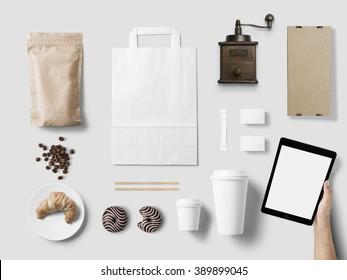 Cafe branding mock up for your design presentation