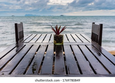 cafe by the sea during a storm on Koh Samui in Thailand, a restaurant without visitors, an empty restaurant on the beach
