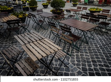 Cafe chairs on a small square in Spoleto, Umbria Italy