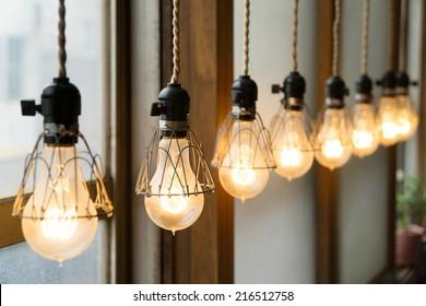 Cafe design light bulbs