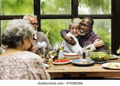 Cafe Diverse Casual Friendship Relaxation Group Concept