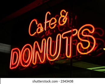Cafe & donuts neon sign in New York City