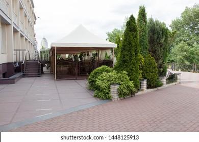 Cafe exterior near public parkland