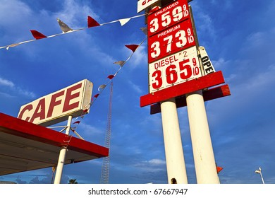 Cafe and gas sign.