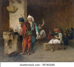 CAFE HOUSE, CAIRO, by Jean-Leon Gerome, 1884, French painting, oil on canvas. Bashi-bazouks, mercenary soldiers in the Ottoman army, depicted in a Cairo cafe. On right men and women watch a male dan