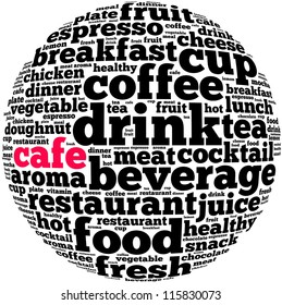 Cafe info-text graphics and arrangement concept on white background (word cloud)