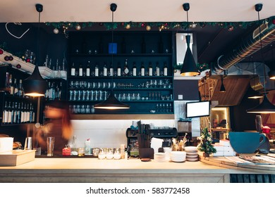 Cafe interior with bar counter
