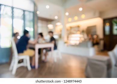 Cafe interior out of focus - defocused background, light cafe.