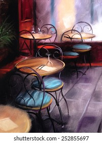 Cafe interior painting coffee shop
