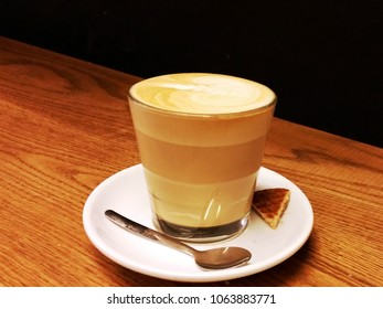 Cafe Latte Glass on Wood Counter