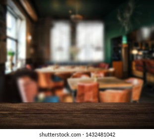Cafe old table bokeh background