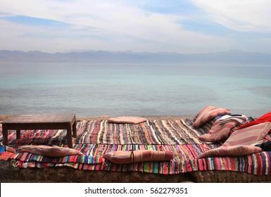 Cafe on the seaside Egypt, Sinai, Nuweiba