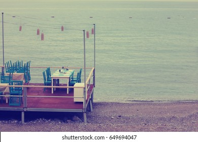 Cafe on the seaside in vintage style