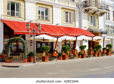 Cafe on the street of old European city