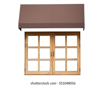 Cafe outside with white wall, wooden window and brown awning,isolated on white background