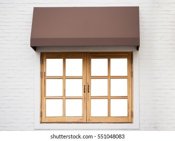 Cafe outside with white wall, wooden window and brown awning