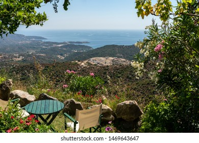 Cafe overlooking the Aegean sea at Greece