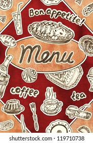 cafe and restaurant menu with watercolor texture. Vintage style