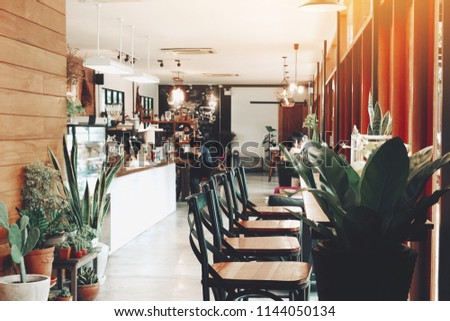 Cafe Shop Interior Design Wood Chairs Stock Photo Edit Now