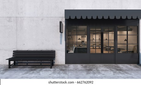 Cafe Shop Restaurant Design Modern Loft Counter Steel Black Top Concrete
