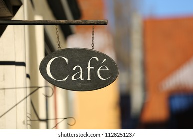 A cafe sign in the old town of Visby, Gotland Sweden.