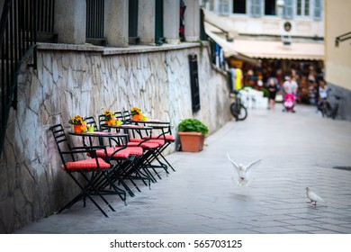 Cafe in the small street, old town Korfu, small depth