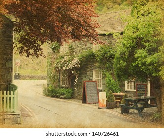 cafe in a small village near Keswick, Lake District, UK.  Photo in retro style. Paper texture.