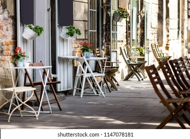 Cafe in the street. Summer terrace in Europe.