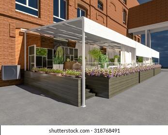 cafe  summer terrace 3D rendering