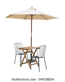 cafe table chair parasol,isolated on white background