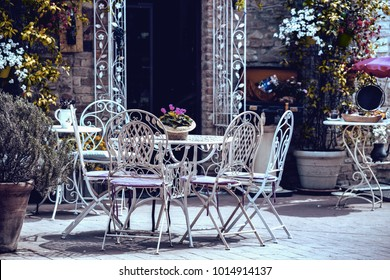cafe. tables and chairs  at the city, Italy, Certaldot. Tuscany, Italy