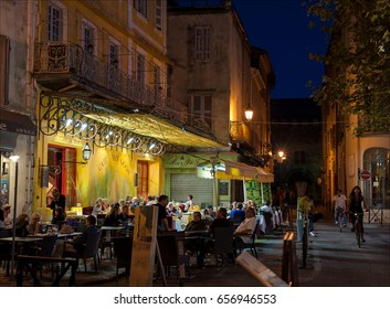 Cafe Van Gogh, Arles, Provence, France. Famous for been depicted on Van Gogh's painting 'The Cafe Terrace on the Place du Forum' in September 1888. Shot at September 2010.